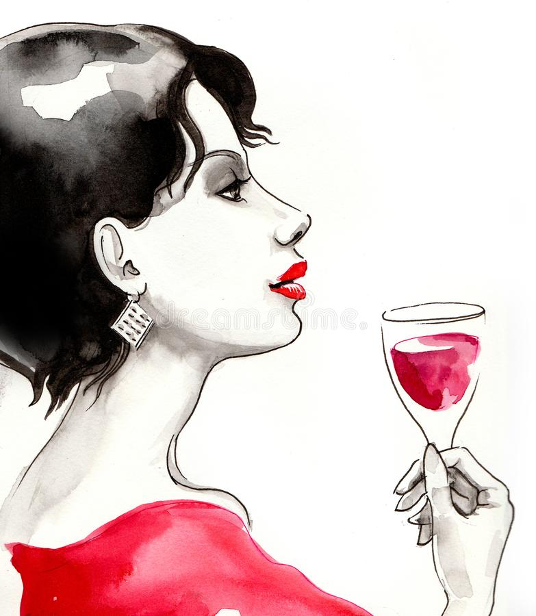 Woman and a glass of wine stock illustration