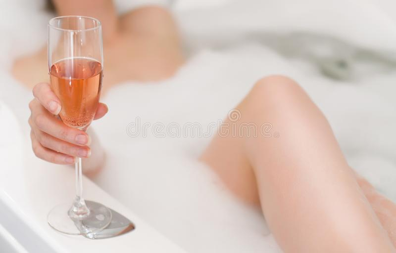Woman with glass of wine. royalty free stock image