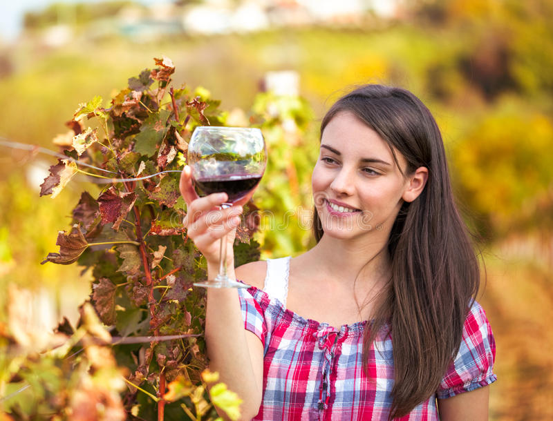 Woman with glass of wine in the vineyard. stock photography