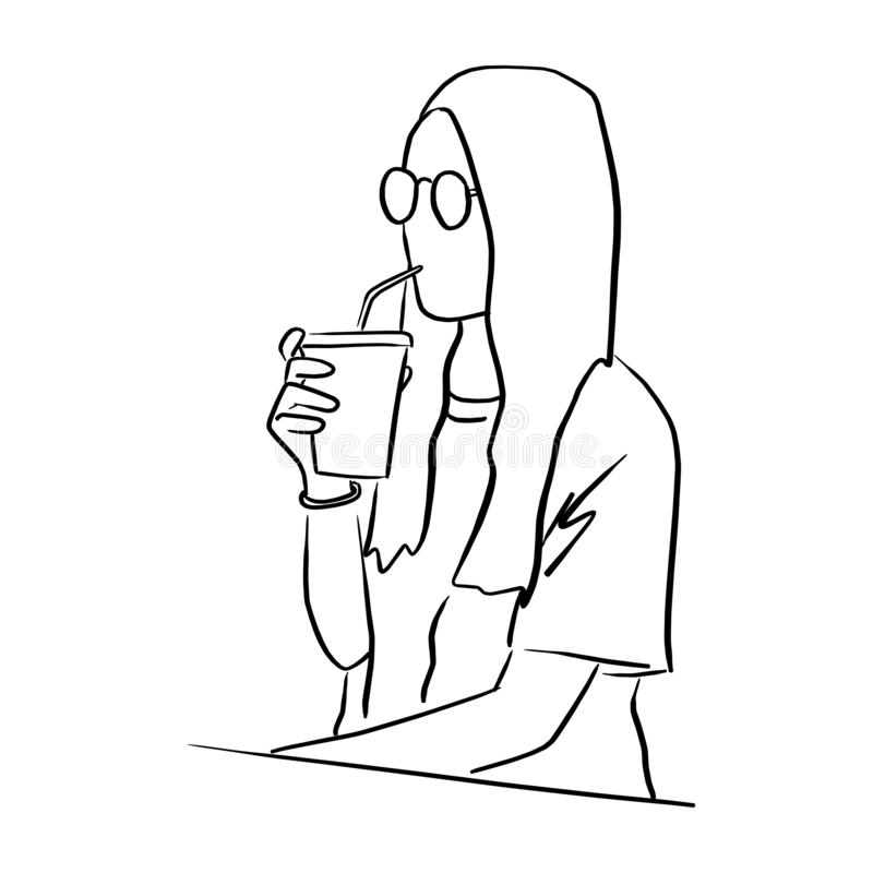 woman with glasses drinking cold takeaway coffee vector illustration sketch doodle hand drawn with black lines isolated on white royalty free illustration