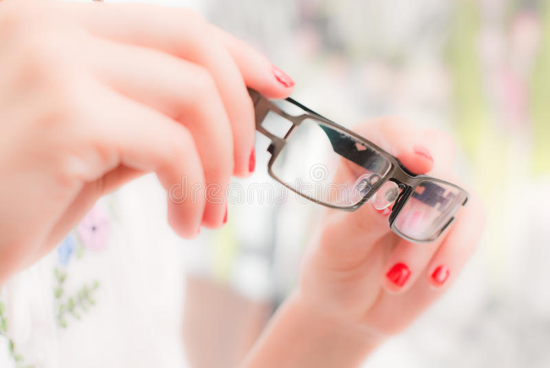 Download Woman With Glasses In Hands Stock Photo - Image: 14533656