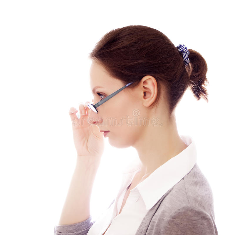 Download Woman Glasses Isolated White Copy Space Stock Image - Image: 25609897