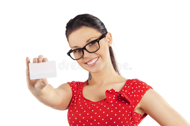 Woman with glasses showing card royalty free stock photo