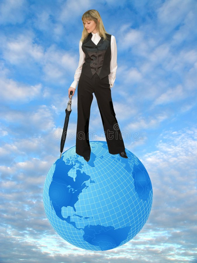 Woman on globe