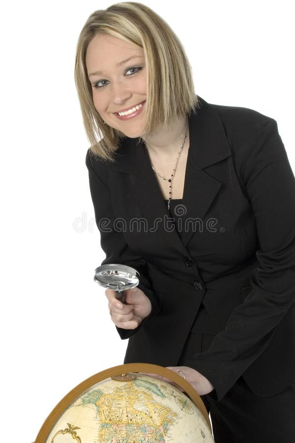 Woman with Globe royalty free stock photo
