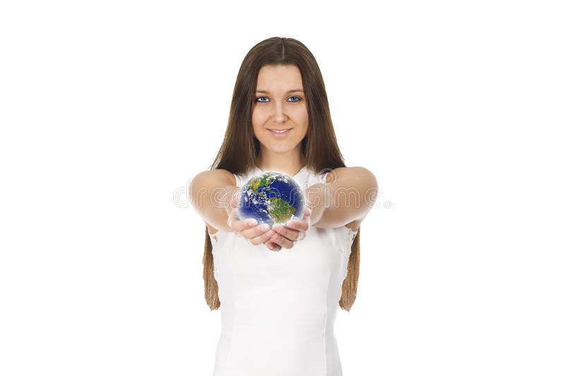 Woman globe - Elements of this image furnished by NASA stock photography