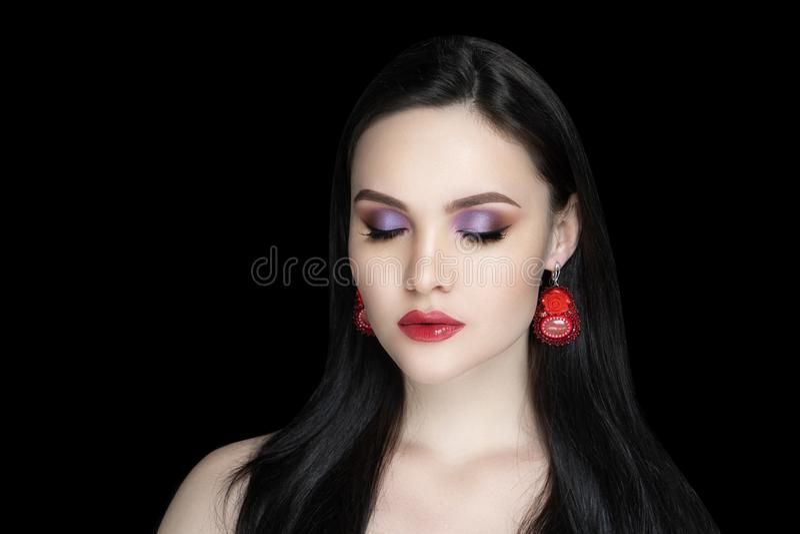 Woman glossy violet eyeshadows stock photography