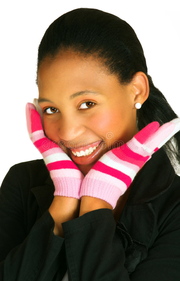 Woman in gloves royalty free stock photos