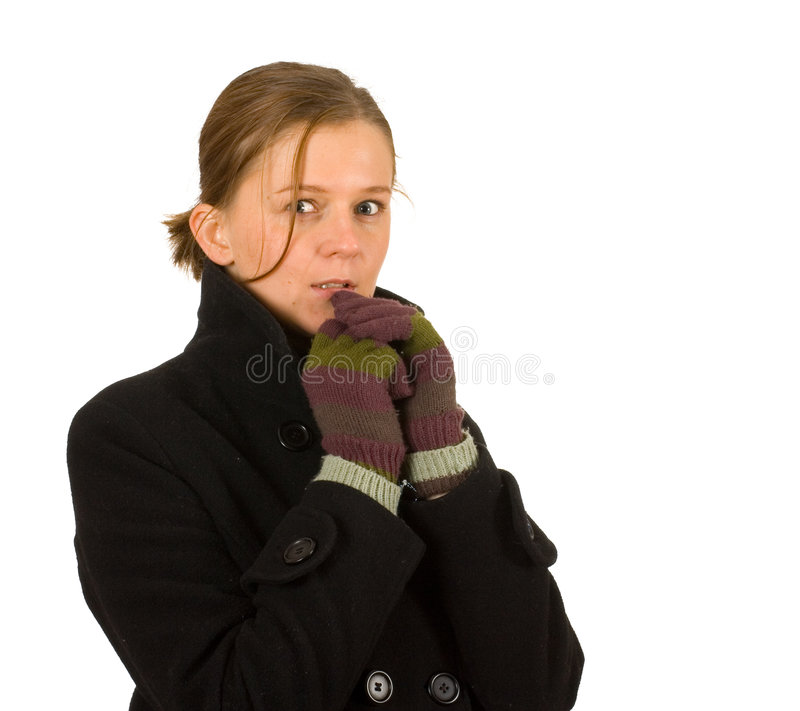 Woman with gloves and winter clothes, cold, winter royalty free stock images
