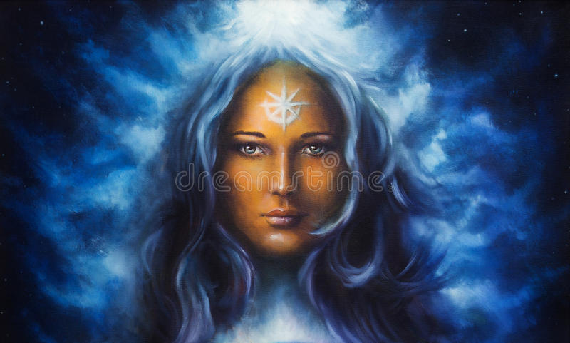 Woman goddess with long blue hair holding multicolor Illustration. Woman goddess with long blue hair holding oil painting royalty free illustration