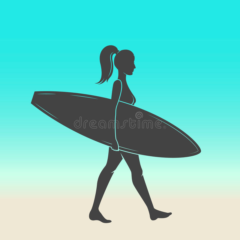 Woman goes surfing with surfboard. Surf vintage logo. Vector illustration. royalty free illustration