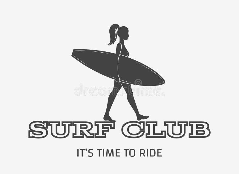 Woman goes surfing with surfboard. Surf vintage logo. Vector illustration stock illustration
