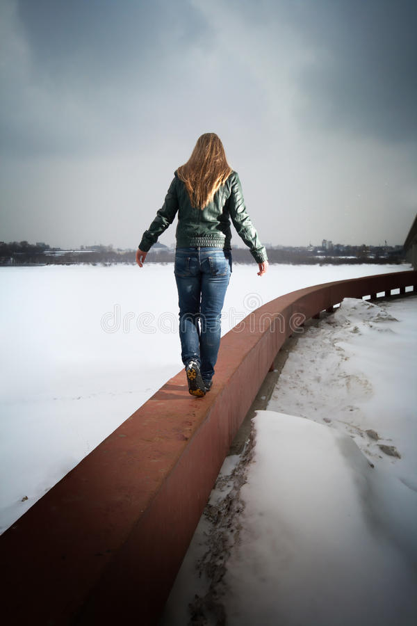 Download Woman going on parapet stock photo. Image of walking - 13542166