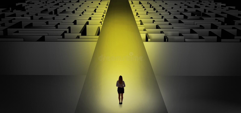Woman going straight on two dark mazes. Woman going straight ahead on a wide road between dark mazes stock illustration