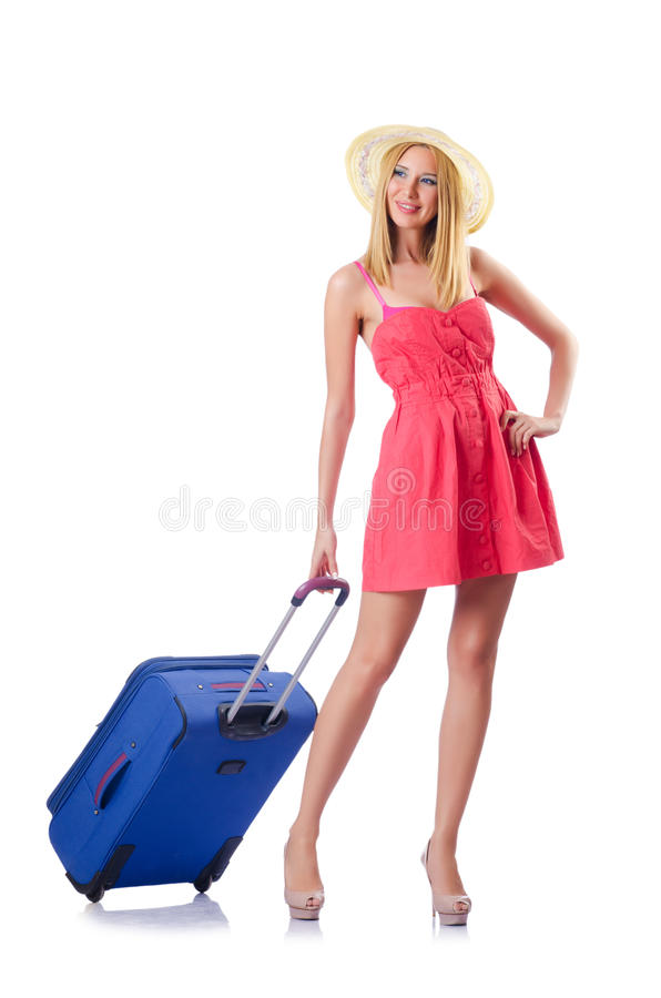 Download Woman Going To Summer Vacation Stock Image - Image of pink, luggage: 27047501