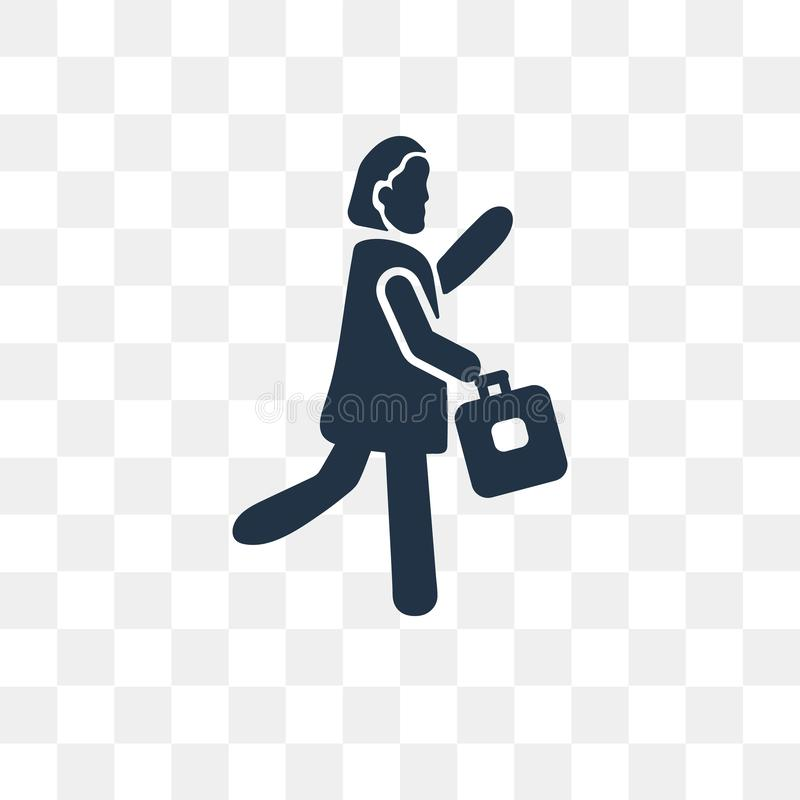 Woman Going To Work vector icon isolated on transparent background, Woman Going To Work transparency concept can be used web and. Mobile royalty free illustration