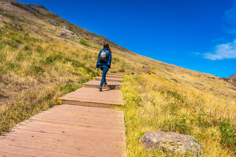 Woman going up on mountain stairs at Madeira Island stock image