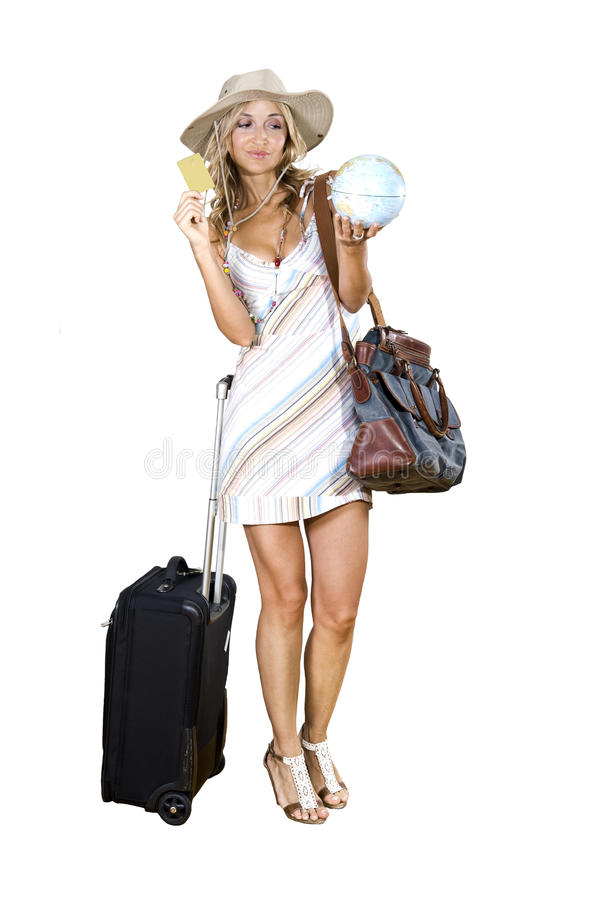 Woman going on vacation. With her credit card royalty free stock photography