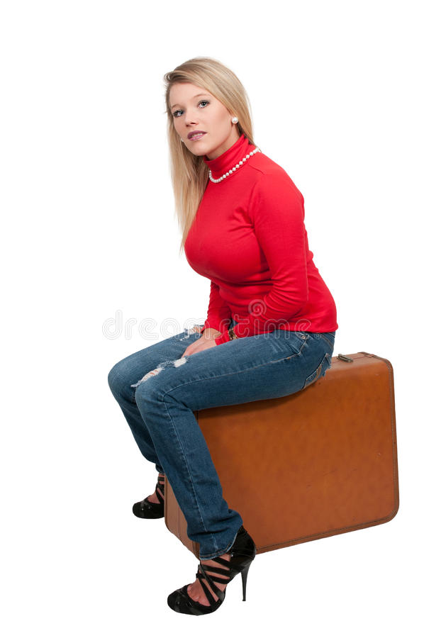 Woman on or going on vacation stock images