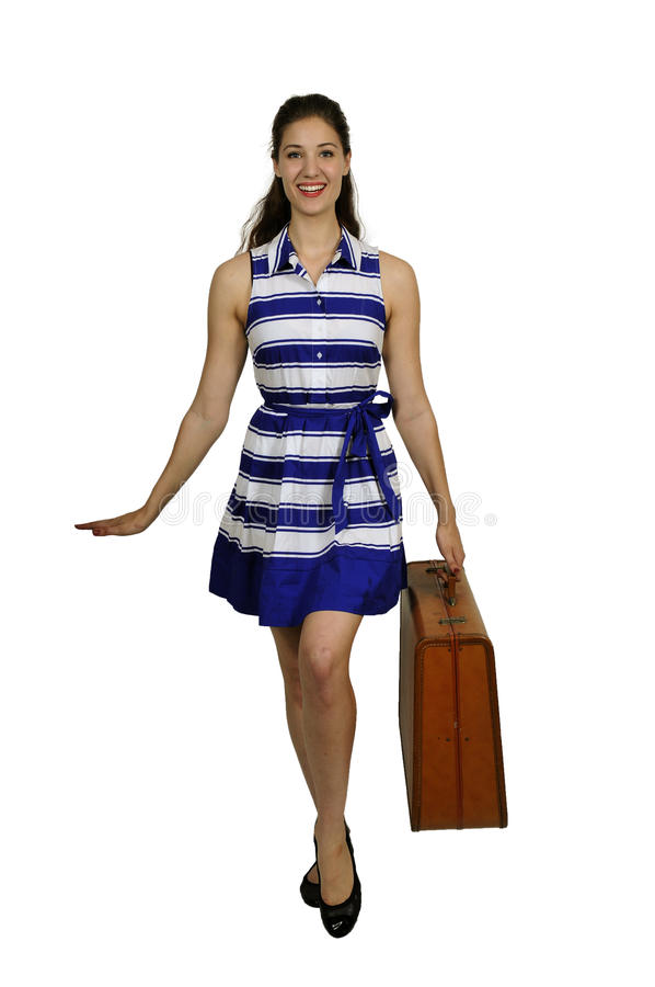 Woman on or going on vacation royalty free stock photo