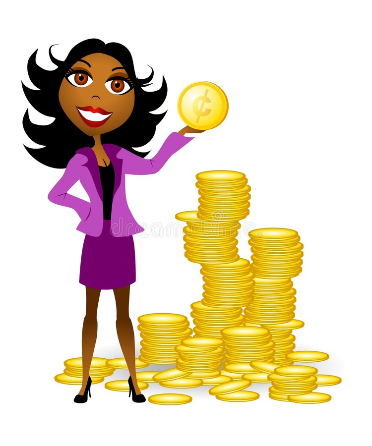 Woman With Gold Coins Cash 2. An illustration featuring an african american woman holding a gold coin and standing in front of piles of coins stock illustration