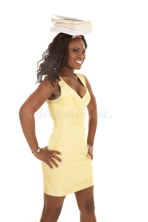 Download Woman Gold Dress Books Head Stock Photo - Image: 27164226