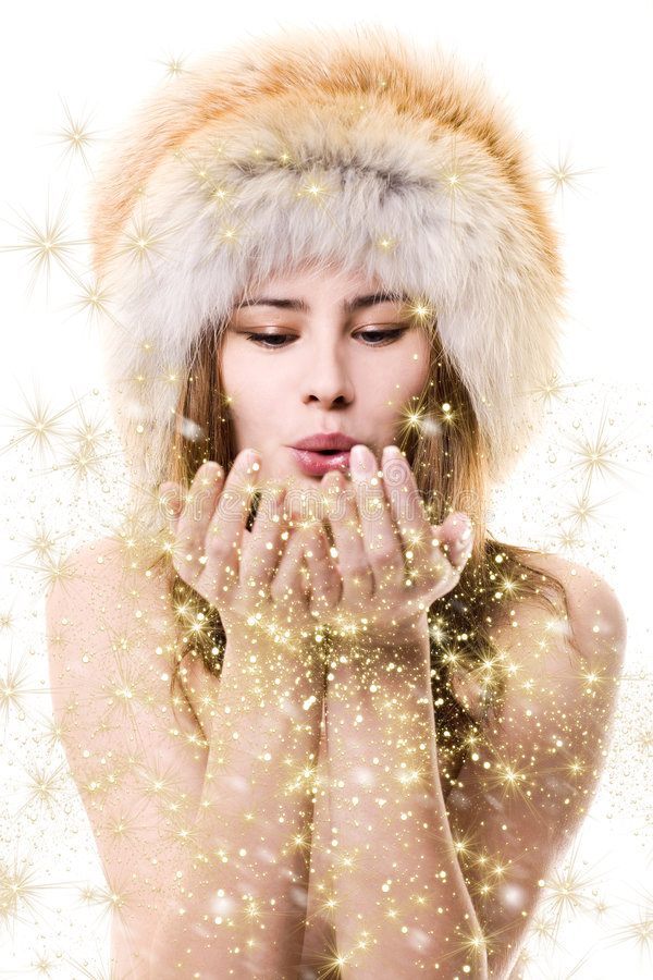 Woman with gold dust stock photography