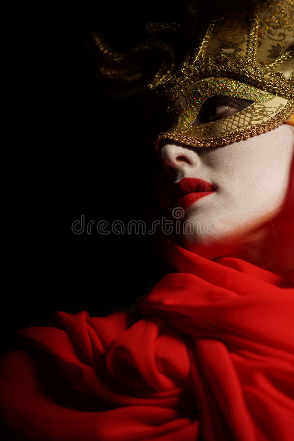 Download Woman in golden party mask stock photo. Image of mouth - 37689380