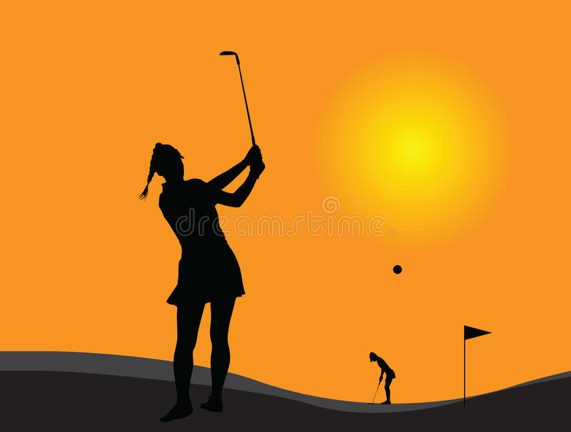 Woman golf player. Vector silhouette of a young woman golf player at the sunset royalty free illustration