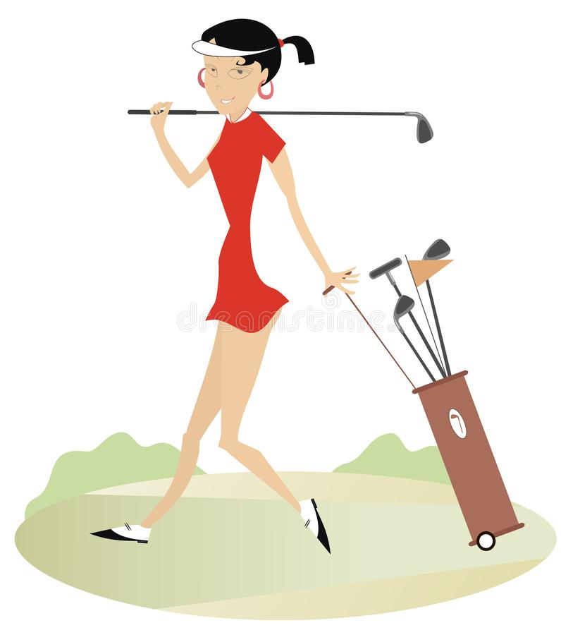Woman golfer on the golf course illustration. Smiling woman with golf club and golf bag goes to play golf illustration vector illustration