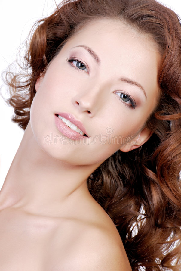 Woman with good face complexion. Close-up face of young woman with good face complexion royalty free stock photography