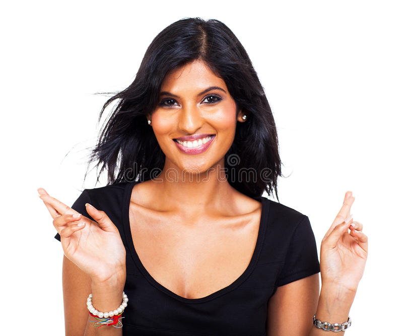 Woman good luck. Portrait of cheerful woman wishing good luck on white background stock photography