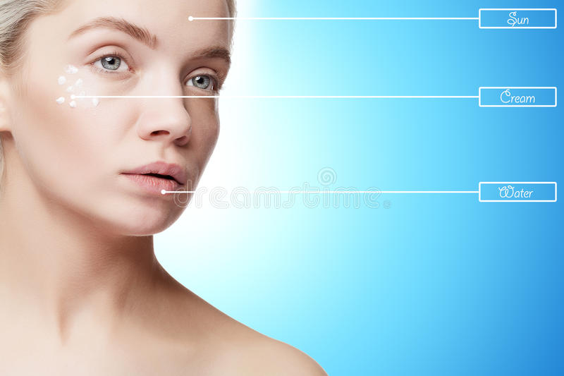 Woman with good skin and cream drops on face stock photos