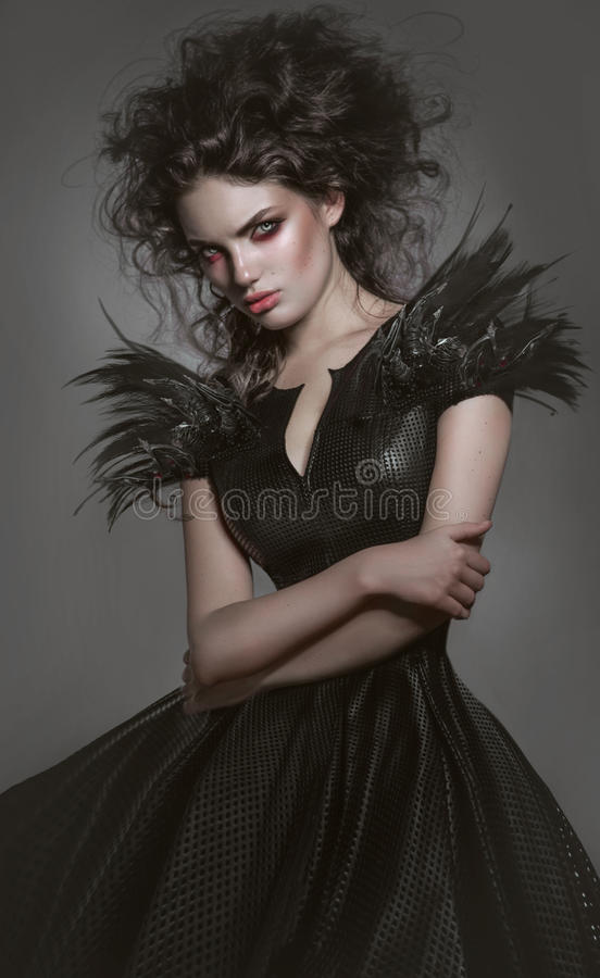 Woman in gothic fashion dress royalty free stock photo