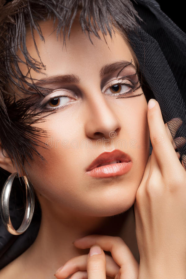 Woman with gothic style make up. Professional fashion art make up. Fashion and Glamour. Gothic royalty free stock photography