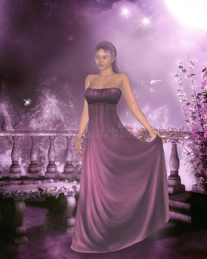 Woman in a gown royalty free illustration