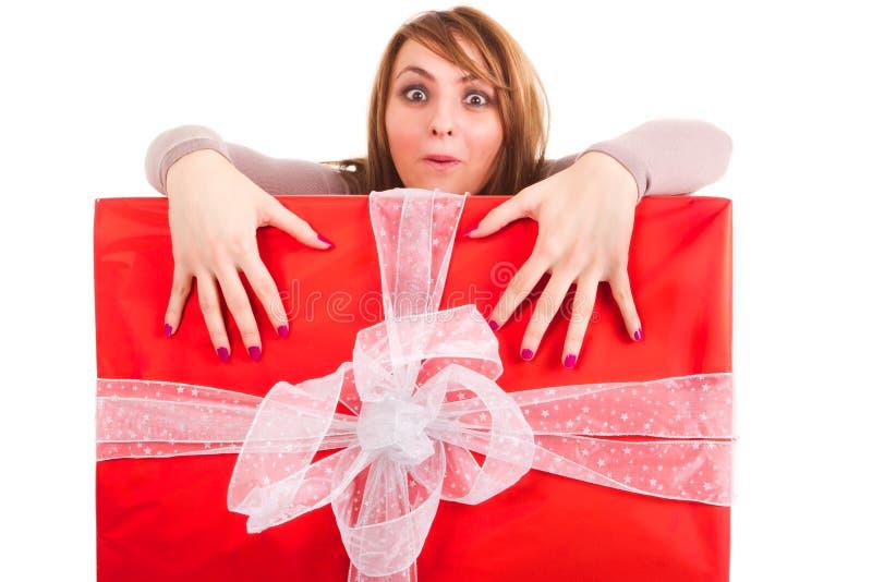 Woman grabing big gift