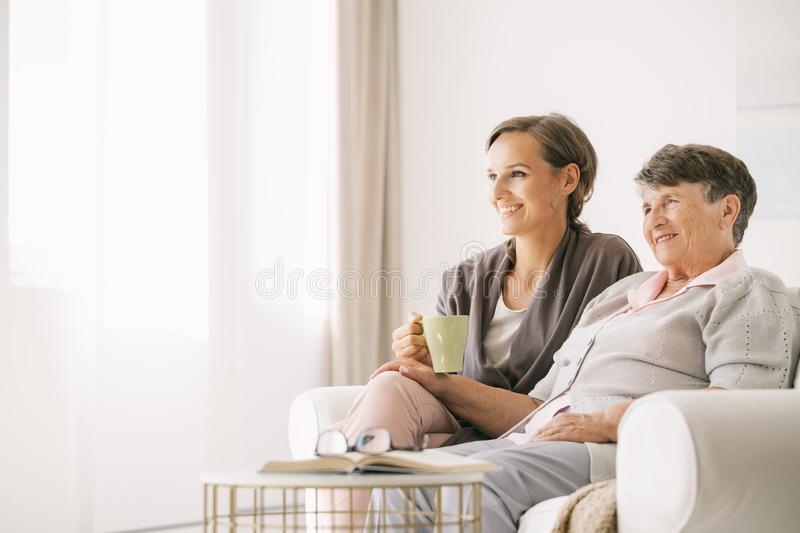 Woman with a gradmother royalty free stock image