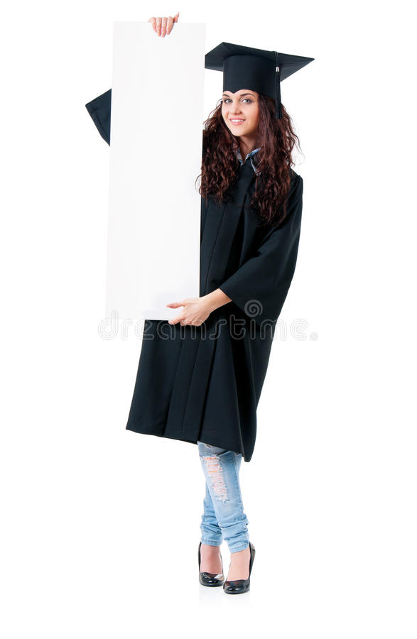 Woman graduating with signboard stock photography