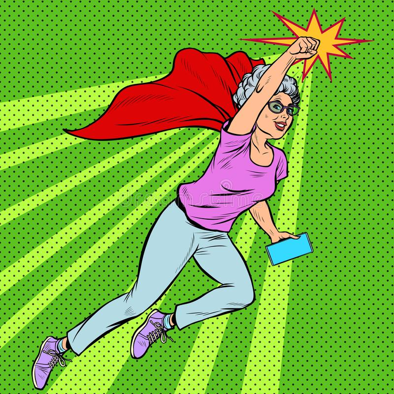 Free Woman Grandmother Superhero Flying Active Strong Pensioner Elderly Lady Royalty Free Stock Photo - 160714435