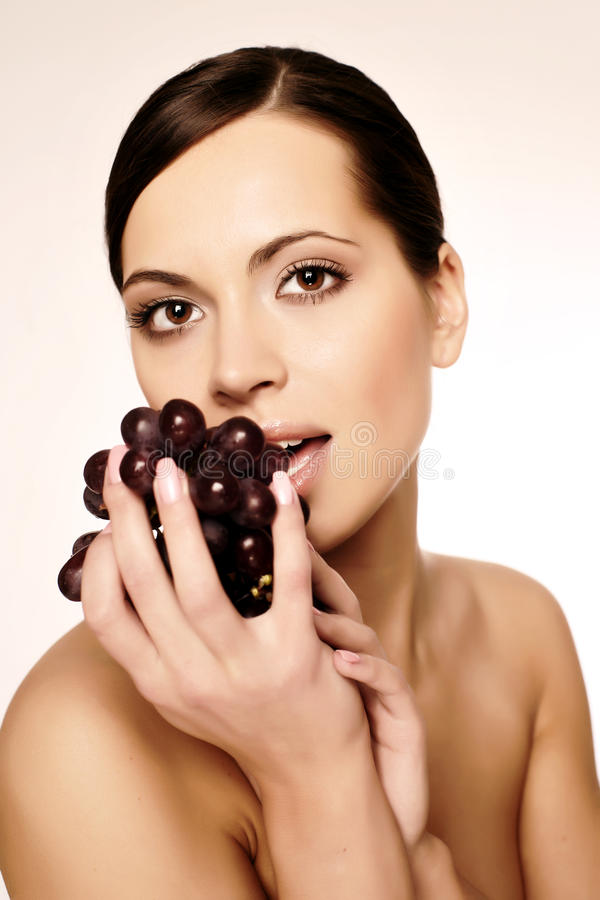 Download Woman with grape stock photo. Image of food, healthy, nourish - 9597142