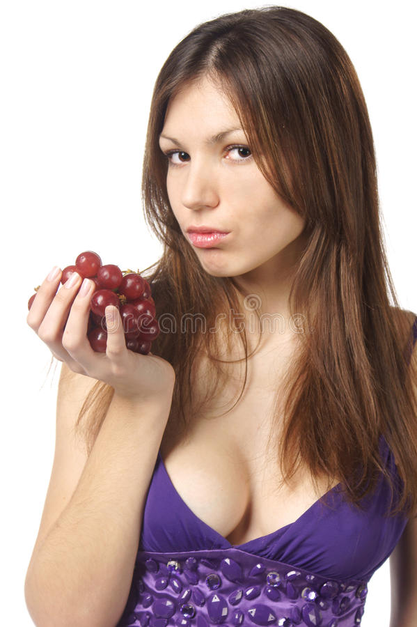 Woman With Grape On White Background Royalty Free Stock Photography