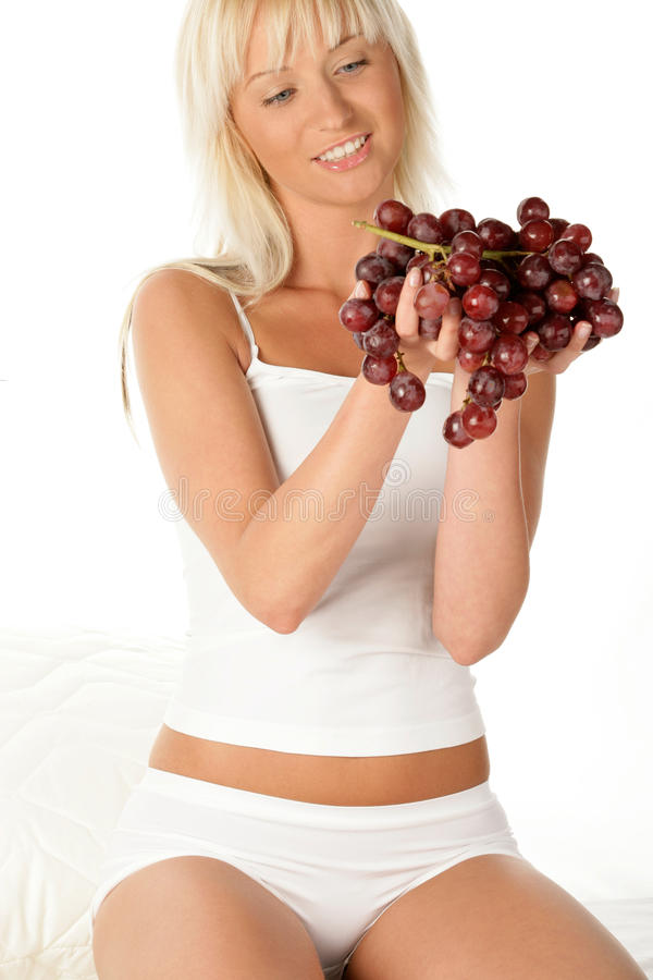 Download Woman with grapes stock photo. Image of delicious, cheerful - 11956494