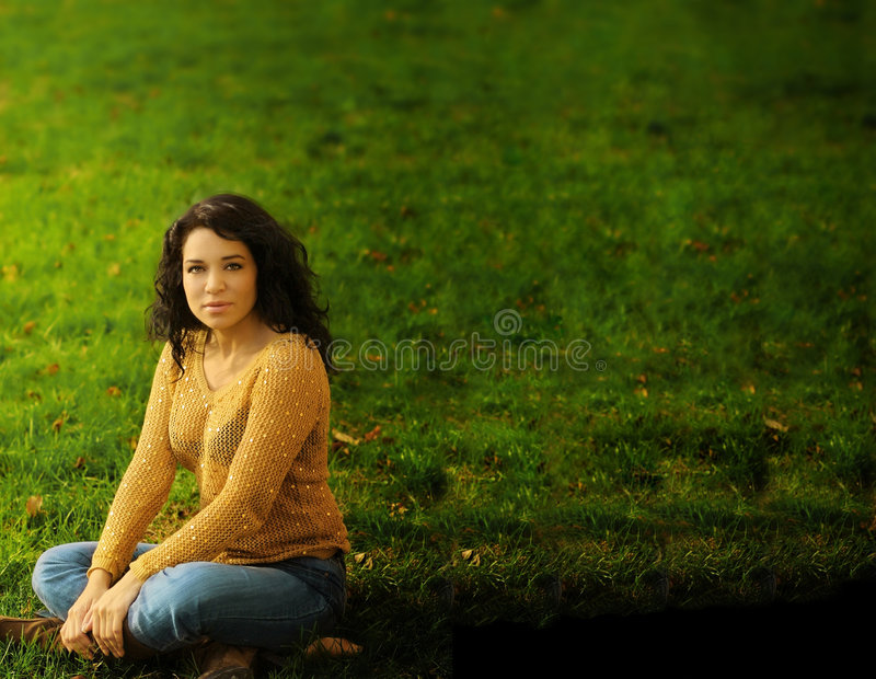 Woman and Grass stock images
