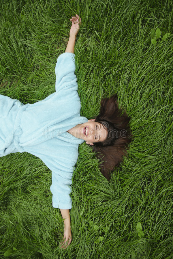 Woman grass royalty free stock photography