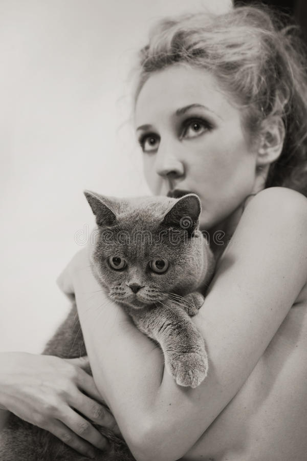Download Woman With A Gray British Cat Royalty Free Stock Image - Image: 25996526