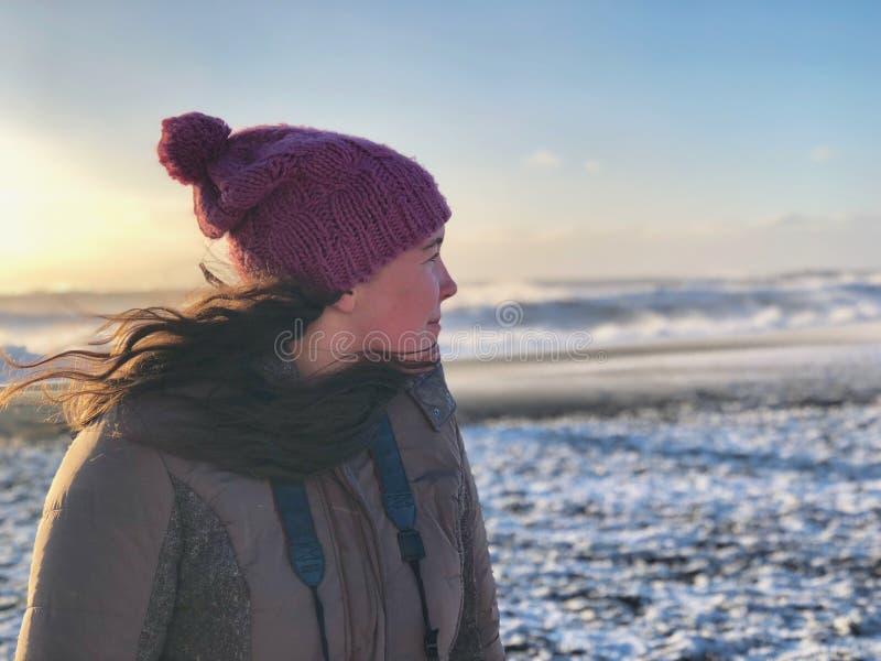 Woman in Gray Full-zip Jacket on Snowy Field stock photography