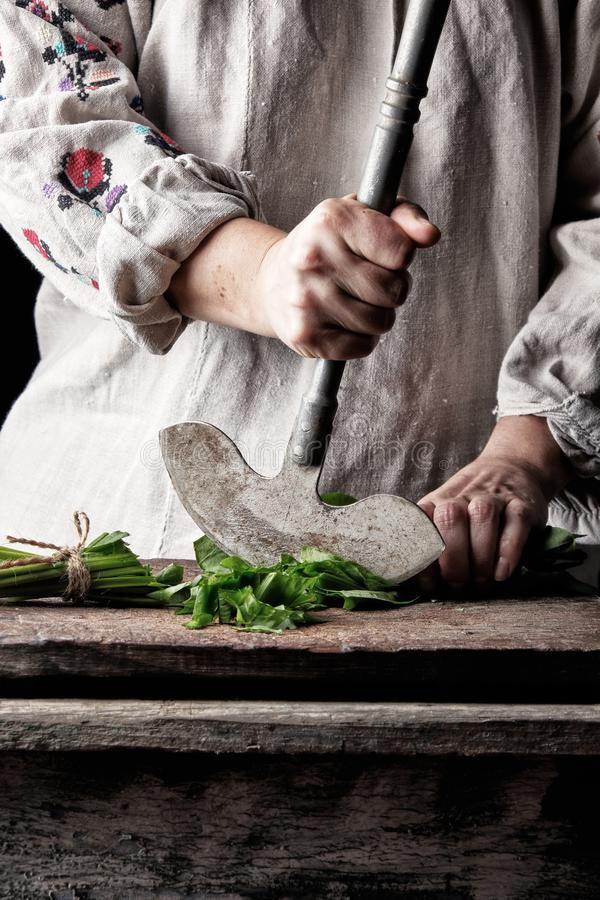 woman in a gray linen dress is cutting green leaves of fresh sorrel on a wooden cutting board with an old metal knife royalty free stock photo