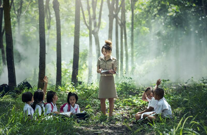 Woman in Gray Long Sleeve Dress Standing Between Childrens Near Woods and Grass stock images