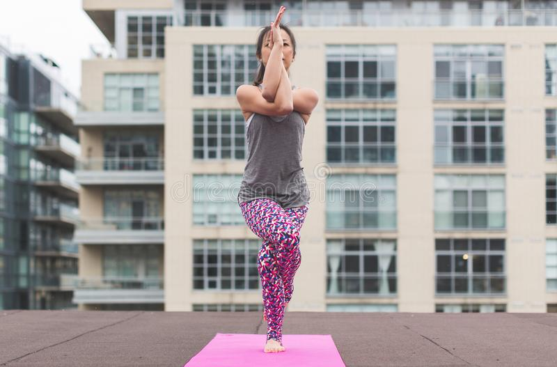 Woman in Gray Top and Pink Pants Yoga on Pink Mat royalty free stock photos